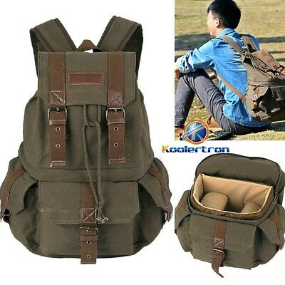 Vintage Canvas Large DSLR SLR Camera Bag Backpack Rucksack For Canon Nikon Sony