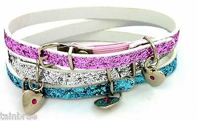 Glitter Cat Collar with Heart Charm