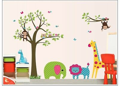 Cute Monkey Owl Animal Tree Wall Stickers Nursery Kids Room Art Vinyl Art Decal