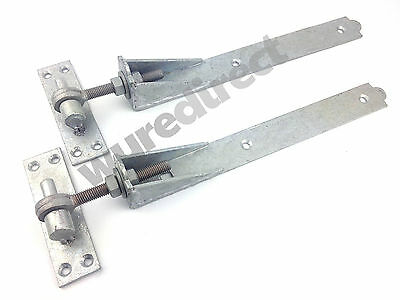 "Adjustable Gate Hinges Pair 350mm 14"" Galvanised Heavy Duty Hook And Band Stable"