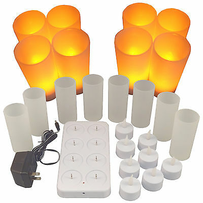Set of 8 NEW LED Rechargeable Flameless Tea Light Candles with Difused Votives.