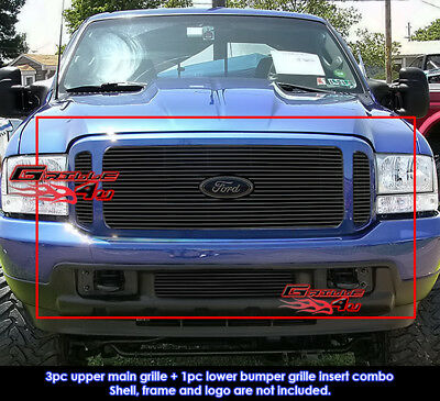Fits Ford F250/F350/2000-2004 Excursion Black Billet Grill Combo 1999-2004