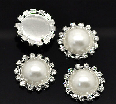 Wholesale Lots Rhinestone Acrylic Pearl Imitation Embellishments Findings 23mm