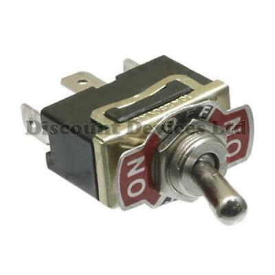 SPDT Toggle Switch on-off-on 10A 250V AC 1 Circuit 6.3mm Terminals Metal Lever