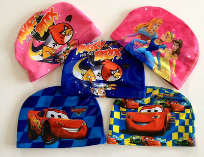 Kids / Childrens LYCRA SWIMMING CAP Swim Hat Cars Angry Birds Beautiful Princess