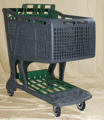 Grey/Green Large Plastic Grocery Shopping Carts