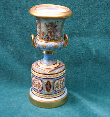 Vienna 19 Century Original Two Handle Hand Painted On Porcelain Urn MAGNIFICENT