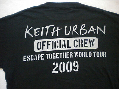 KEITH URBAN~COUNTRY~ESCAPE TOGETHER WORLD TOUR 2009~BLACK CREW T-SHIRT Large~NEW