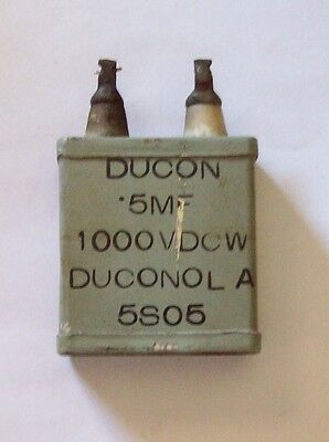 Recovered DUCANOL 5S05 +20 -10% 0.5Mfd 1000VDC capacitor