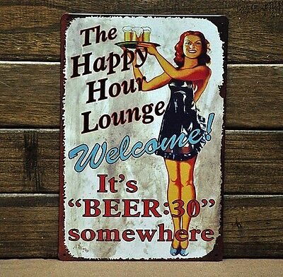"BEER ""Happy Hour"" Metal Tin Sign BAR CLUB PUB HOME Vintage Wall Decor Decoration"