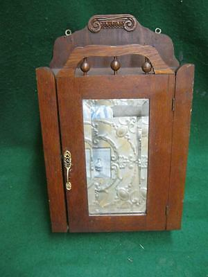 Vintage Small Wood Stick & Ball Medicine Cabinet Chest Beveled Mirror #2663-13