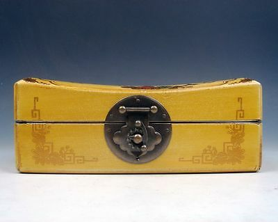 """Yellow Finish Birds Flowers Hand Painted Leather Wooden Jewelry Box 6"""" #11301302"""