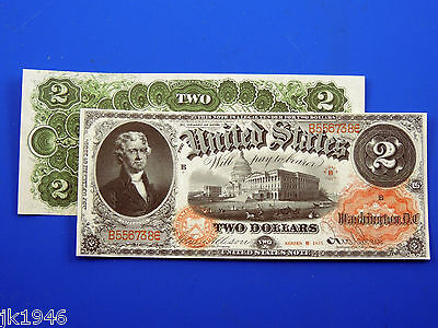 Reproduction $2 1875 LT US Paper Money Currency Copy