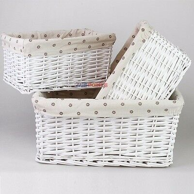 Painted Cane Design Willow Basket 3 Sets Wicker Storage Box Brown Gingham Liner