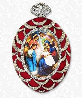 Nativity Scene Christmas Religious Ornament Jeweled Chain Russian Icon Gift NEW