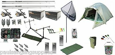 Carp Fishing Kit Rods Reels Alarms Pod Net Tackle Bivvy Hooks Much More Set 5