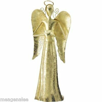 "NWT GOLD METAL ANGEL w/heart HOLIDAY TABLE DECOR! regal art! 10.5"" well-made!"