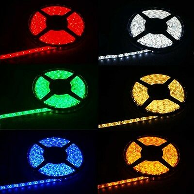 SMD 3528 Waterproof Flexible LED Strip Tape Lights w/ Adhesive Backing 6 Colors