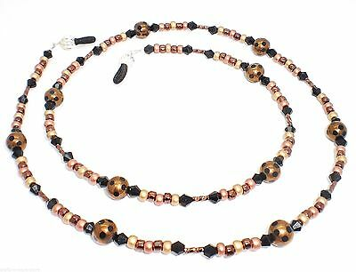 Twisted Bronze & Copper Black Dotted Glass Eyeglass Chain