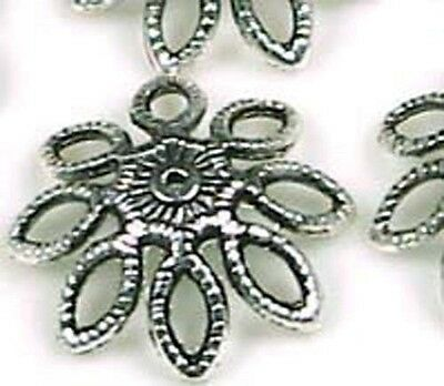 12 Large Pewter Flower Bead Caps 20mm ~ Lead-Free ~