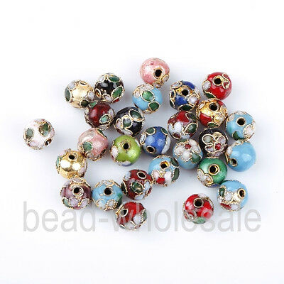 Fashion 100pcs mixed 8mm round cloisonne Spacer bead