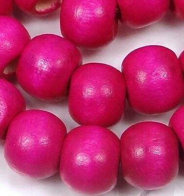 "10x8mm Hot Pink Wood Rondelle Beads 16""  4mm hole"