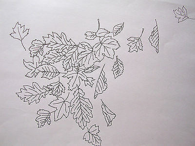 Printed Tablecloth to embroider Autumn Leaves white lace edge  cotton CSOO74