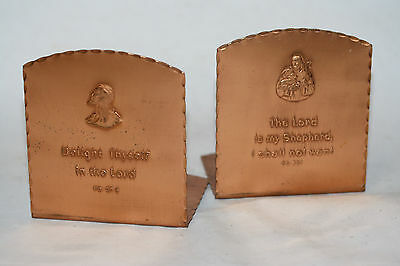 Vintage Retro Pair of Hammered Copper / Tin / Brass Christian Religious Bookends