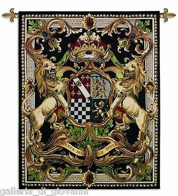 "Regal Coat of Arms Wall Tapestry  41"" x 53""  Medieval Crest Black Gold Red"