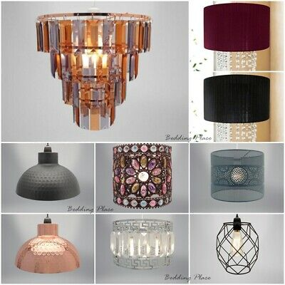Easy Fit Chandelier Chic Ceiling Pendant Light Shade Crystal & Fabric Ribbon