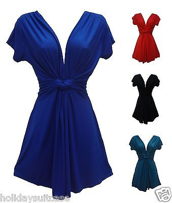 Ladies womans plus size long summer knot top 12-26 UK evening holiday party