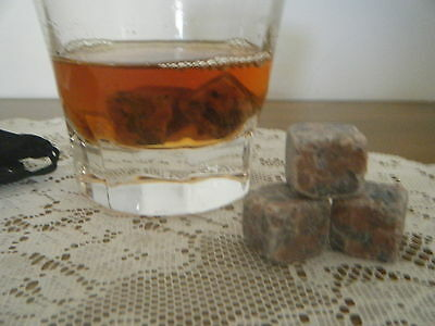 Whisky Rocks   Six RED Marbled Rocks Brand New