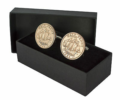 Coin Cufflinks - Half Penny Choose The Year 1923-1967 Perfect Birthday Present