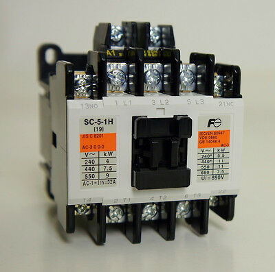 New Fuji Electric Magnetic Contactor SC-5-1H , AC 200V, Ith=32A, 5.5kW, 1a/1b