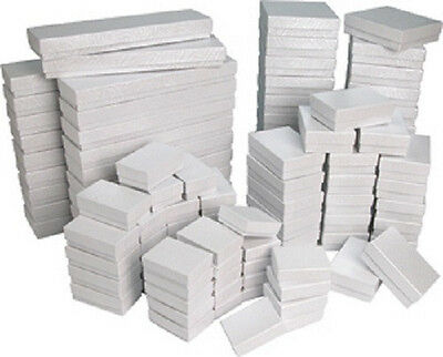 wholesale lot of 25-50-100 pcs Cotton Filled White Ring, Earring, Bracelet Boxes