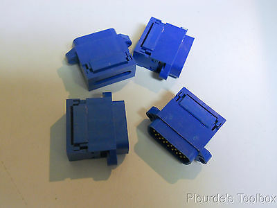 (4) New Alpha Wire 15 Pin Male D Subminature Flat Connector Plugs, FCC182-15