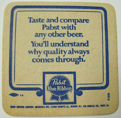 PABST BLUE RIBBON BEER, Taste and compare ... Coaster, MAT, Milwaukee WISCONSIN
