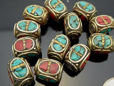 Vintage Antique Bronze 14 X 10mm Coral Turquoise Inlay Tibetan Bead One Piece