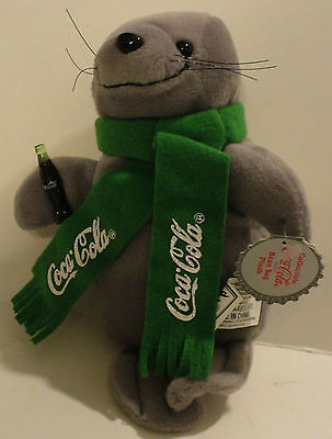 1998 Collectible Coca-Cola Bean Bag Plush Seal In Green Scarf 0123 W/tags
