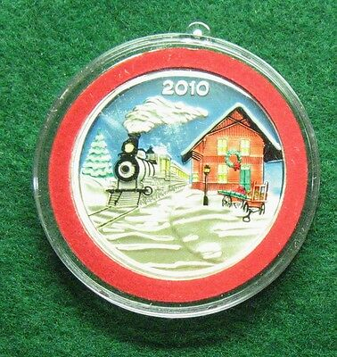 2010 Enameled Christmas Ornament 1 Troy Ounce 999 Silver Round Shipped Free L776