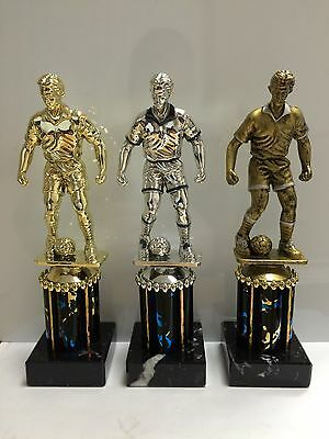 210mm Male Football Trophy,Award,Marble Base,3 Colours,FREE Engraving