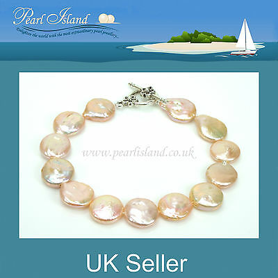 Peach Pink Freshwater Coin Pearl Bracelet with Flower Design T-bar /Toggle Clasp