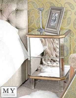 Mirrored Furniture Bedside Table cabinet 2 Drawers  (Versailles range)