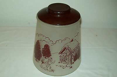 VINTAGE ''POKEE'' HANSEL AND GRETEL FROSTED GLASS COOKIE JAR