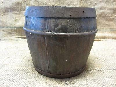 Vintage Wood & Iron Barrel > Bucket Basket Garden Decor Antique Old Shabby 8524