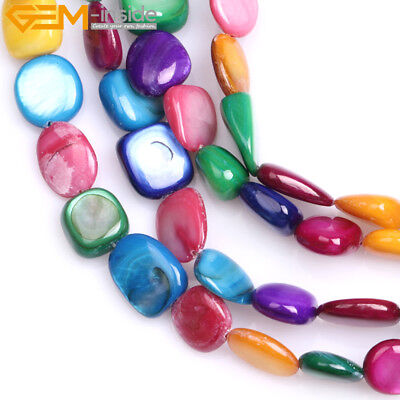 "Dyed Fresh Color Genuine Shell Freeform Chips Beads For Jewelry Making 34""/15"""