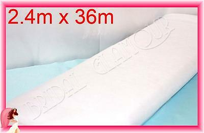 WHITE Extra-wide (2.4m x 36m) Soft Wedding Tulle Bolt Fabric Roll Drape Swag Bow