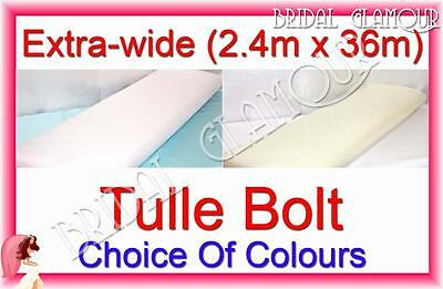Extra-wide (2.4m x 36m) Soft Wedding Tulle Bolt Fabric Roll Drape Swag Pew Bow