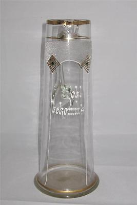 Antique Hand Enameled Hand Blown Frosted Germann Glass Pitcher Wolzl Bekomm's