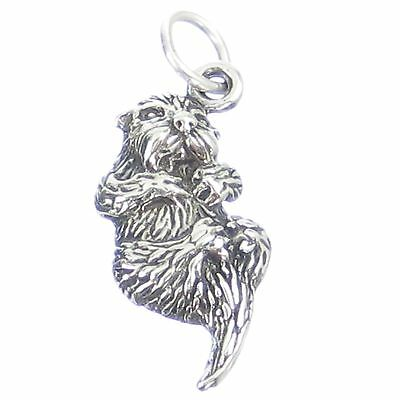 Otter sterling silver 2D charm .925 x 1 Otters Animals charms SSLP2165